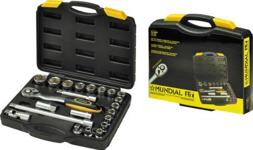 Assortiment inzetstukken in koffer. Sokkel 1/2 inch. maten 10 tot 32, 1 ratel, 2 power (125 en 250 mm), kardangewricht, steeksleutel voor kaarsen grootte 16 en 21. Afmetingen mm 320 x 290 x 70.
