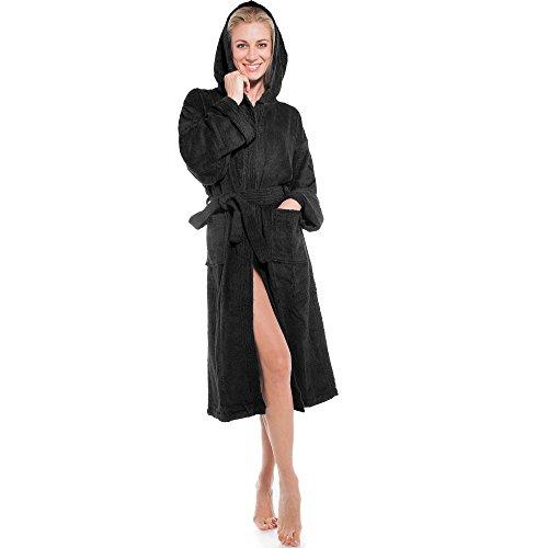 aqua-textil Föhr Sylt Albornoz Capucha Uni Largo Bolsillos de Parche Costuras Decorativas Señoras Caballeros Unisex 100% Algodón XS - XXXL