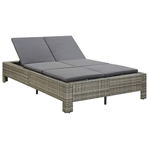 vidaXL Sonnenliege 2-Personen mit Auflage Doppelliege Gartenliege Relaxliege Liege Lounge Gartenmöbel Rattanmöbel Grau Poly Rattan