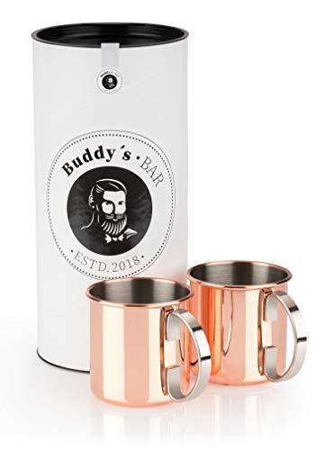 Buddy´s Bar - Moscow Mule Becher, 450 ml, hochwertiger Edelstahl-Becher, lebensmittelecht, Cocktail-Tasse inklusive Geschenkbox, Kupfer Poliert, 2er Set
