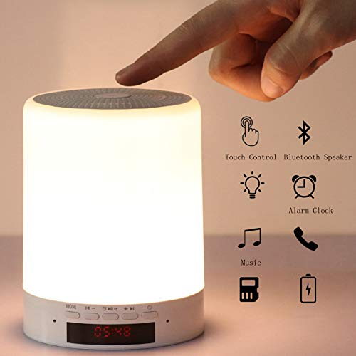 LRQY LED Lámpara De Cabecera Inteligente Táctil Lámpara De Mesa, con Reloj Despertador Bocina Bluetooth, Regulable Luz Cálido Y Blanco & 7 Cambio De Color Portátil para Cuarto Sala Camping,Blanco