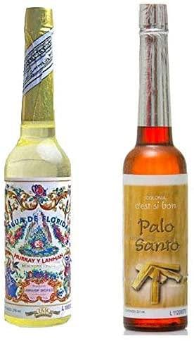 PACK DE DOS (2) BOTELLAS DE Agua de Florida 1 La Original Peru Amarilla 270 ml y otra de Agua Colonia de Palo Santo 211 ml original de Peru, refresca, promueve la concentración de los pensamie