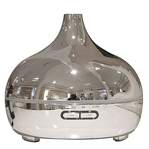 Humidificador Ultrasónico Vapor Frío 300 Ml Difusores Aceite Perfumado Difusor Aroma , Luz LED 7 Colores Y Función Apagado Automático, Adecuado for El Hogar, Yoga, Oficina, SPA (Color : Silver)