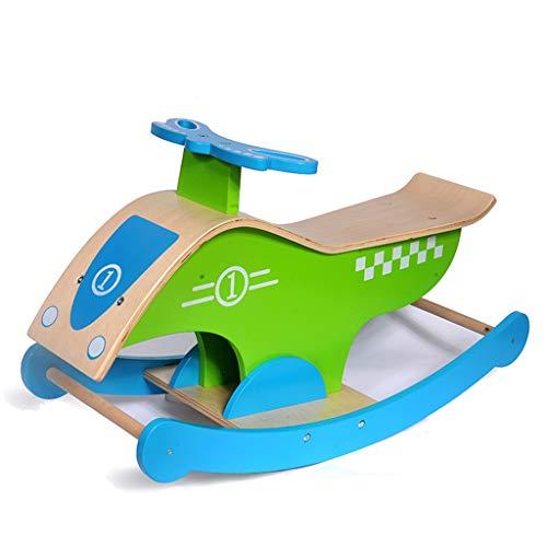 Trojan Cheval à Bascule pour Enfants en Bois Sécurité pour bébé, Protection de l'environnement, Puzzle, santé (Couleur : Bleu)