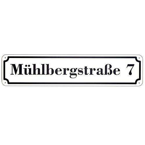 Langes Hausnummer und Straße Schild Weiss mit SCHWARZER Schrift 2mm Aluverbund, 50 x 11 cm jetzt selbst gestalten