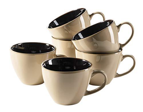 Mäser 931464 Serie Scuro - Juego de tazas de café (cerámica, con platillos para 6 personas, 450 ml), diseño de gres, piedra, 6 piezas beige., 45 cl