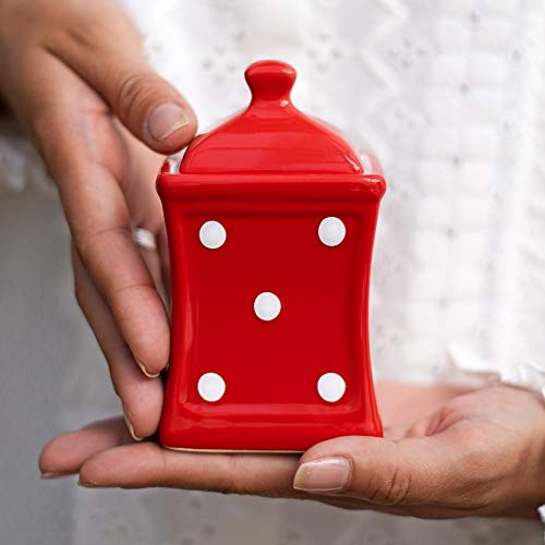 Handmade Red and White Polka Dot Small 53oz150ml Ceramic Kitchen Herb Spice Storage Jar with Lid Pottery Canister Housewarming Gift by City to Cottage