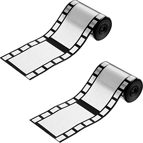 2 Rolls Paper Filmstrip Decorating Material Tape, Hollywood Film Border...