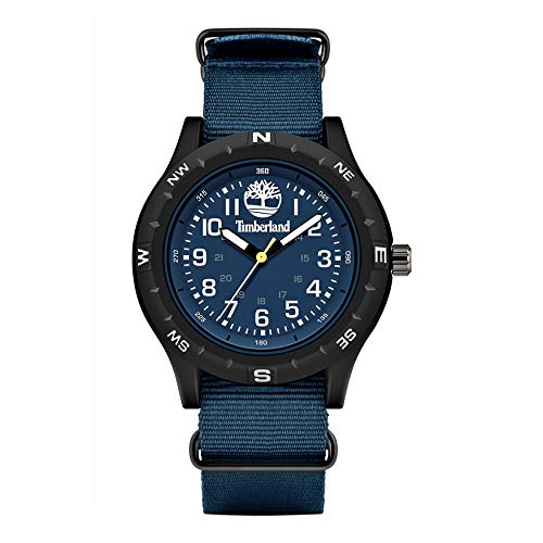 Timberland Mens Outdoor Dennett Watch NATO Waterproof Textile Strap Blue Easy to Read Dial Lightweight Plastic Case Quartz Wristwatch