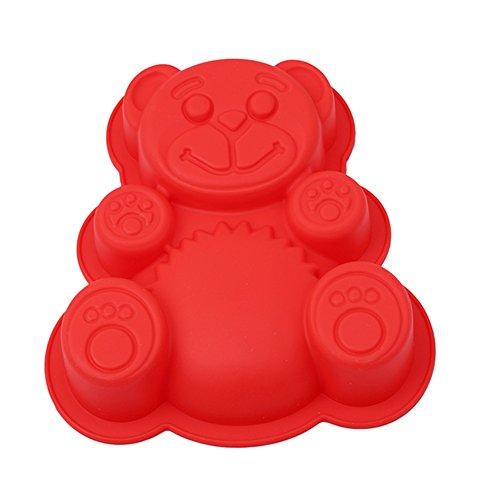 ODN Baby Bär Form 3D Silikon Form Gumpaste Schokolade Clay Süßigkeiten Formen Fondant Kuchen Dekorieren Werkzeuge DIY Cupcake Backformen (Rot)