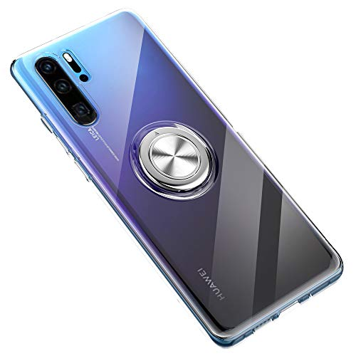 SORAKA Clear Case for Huawei P30 Pro with Ring Holder,Slim Fit Transparent Soft TPU Case with Metal Plate for Magnet Car Phone Holder