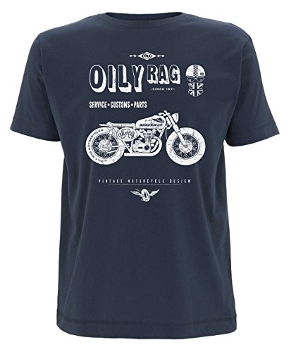 Oily Rag Co Shed Build Motorcycle T shirt, Denim, XL