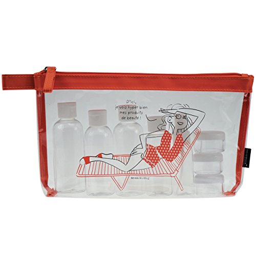 Incidence Paris 62140 Trousse de toilette avec Flacons Escapade au soleil 10 pièces Transparent et orange, 28 cm, Transparent