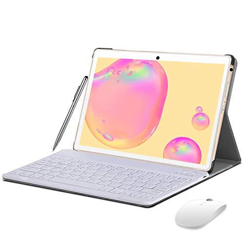 Tablet 10 Zoll 4G LTE, Android 9 Tablet mit Tastatur, 4 GB RAM + 64 GB ROM, 128 GB Erweiterbar, Quad-Core, GMS-Zertifizierung, Tablet PC mit Dual SIM, 8000 mAh Akku, OTG, WiFi, GPS, Bluetooth