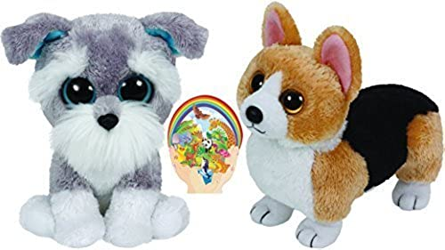Ty Beanies WHISKERS Schnauzer Boos and OTIS Corgi Babies Dogs Gift set of 2 Plush Toys 6-8 inches tall with Bonus Animals Sticker by Ty Beanie Babies