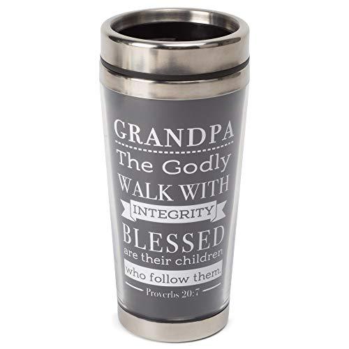 Grandpa Integrity Schrift Reisebecher mit Deckel, Edelstahl, 425 ml, Schwarz