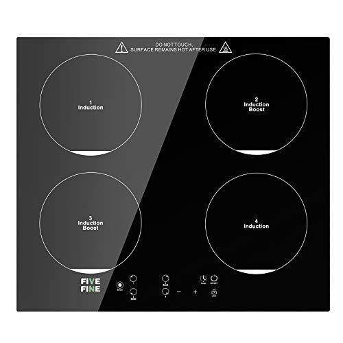 Piano Cottura Induzione, 4 Zone Di Cottura, Piano Cottura Elettrico con Sensore Touch Control, 9 Livelli Di Potenza, Blocco Di Sicurezza, Timer, 7600 W