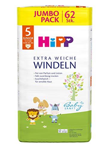 Hipp Babysanft Windeln Junior 5 Jumbo (11-17kg, Größe 86-104), 186 Stk.