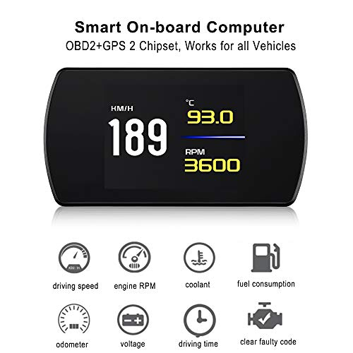 """VJOYCAR New 4.3"""" Universal GPS Speedometer Car HUD Head Up Display with Vehicle Speed MPH Odometer Engine RPM Coolant Automotive Computer OBD2 Scan Tool Faulty Code Reader"""