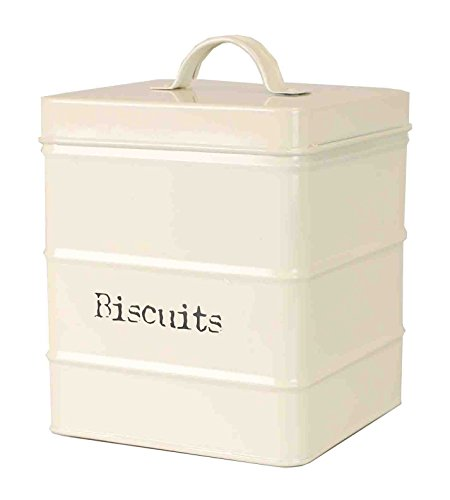 Home Basics Biscuits Tin Canister, One Size, Ivory/Copper