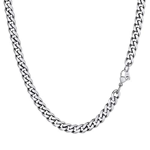 PROSTEEL Herren Hip-Hop Kette 6mm breit Panzerkette Halskette 55cm/22 in. Edelstahl kubanische Gliederkette Cuban Link Necklace trendig Schmuck Accessoire für Jungen