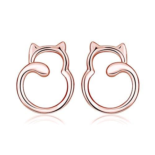 Ohrringe Katzen Ohrstecker aus 925 Sterling Silber mit Rhodium oder Rosegold Veredelung für Damen Mädchen Kinder