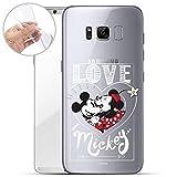 Finoo Handyhülle Geeigent für Samsung Galaxy S8 Plus - Disney Handyhülle mit Motiv und Optimalen Schutz TPU Silikon Tasche Case Cover Schutzhülle - Mickey Mouse Love