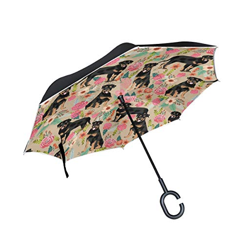 Inverted Travel Umbrella Rottweiler Reverse Windproof UV Protection Umbrellas with C Shaped Handle for Car Golf Outdoor