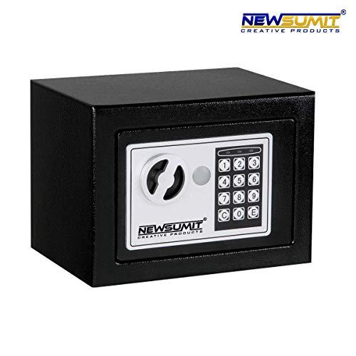 NEWSUMIT - Caja Fuerte Electronica con Llaves para Hogar, Oficina - Empotrable en Pared o Suelo (23x17x17cm). (Negro)