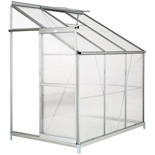 TecTake Serra da giardino in alluminio e policarbonato per piante orto casetta esterno 4,09m³ serra a muro - modelli differenti - (192x128x202 cm con base | no. 402469)