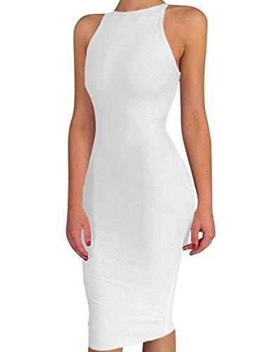 BEAGIMEG Women's Spaghetti Strap O Neck Bodycon Midi Club Party Dress White