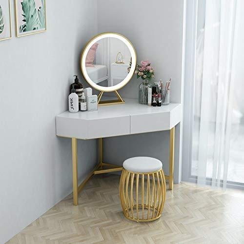 lvfang Dreieck Schminktisch Eckschlafzimmer Schminktisch Kleines Apartment Schlafzimmer Eckschminktisch Einfach Modern,White-60cm