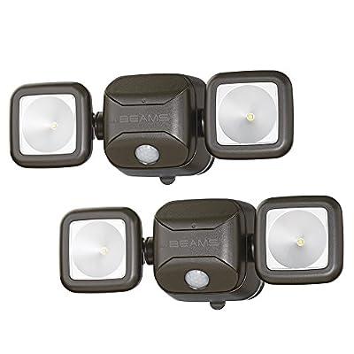 Mr. Beams MB3000 High Performance Wireless Battery Powered Motion Sensing Led Dual Head Security Spotlight, 500 Lumens, Brown, 2 Pack