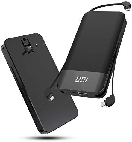 Portable Charger for iPhone 10000mAh Power Bank Built in AC Wall Plug Built in Micro USB Type product image