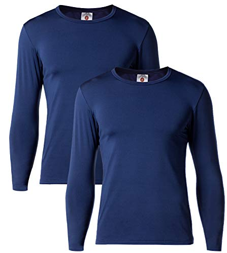 LAPASA Uomo T-Shirt Termica Pacco da 2 –Ti Tiene al Caldo Senza Stress- Intimo Maniche Lunghe Invernale M09 (L(Torace 104-110 cm/Manica 60 cm), Blu Navy)