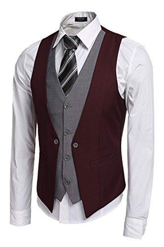 Price comparison product image Coofandy Men's V-neck Sleeveless Slim Fit Jacket Business Suit Vests, Medium