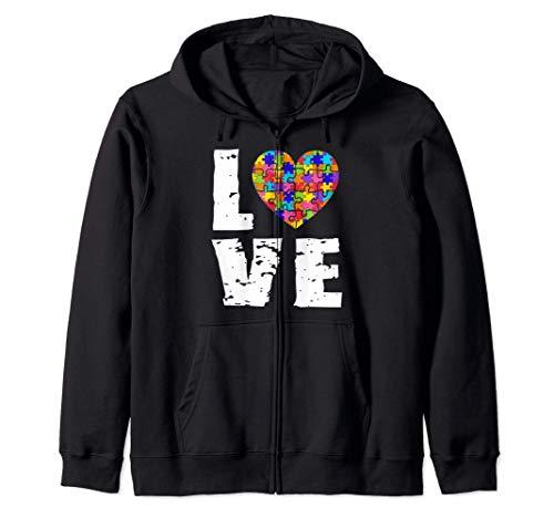 Concienciación sobre el autismo Amor Rompecabezas Corazón Sudadera con Capucha
