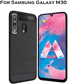 Bracevor Back Cover Case for Samsung Galaxy M30 Carbon Fiber Flexible Shockproof TPU Rugged Armor Brushed Texture - Black