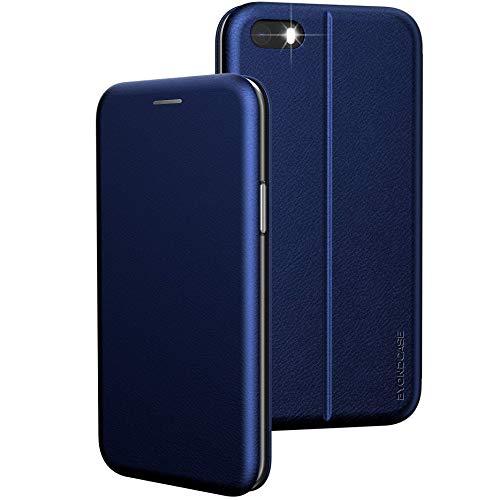 BYONDCASE Custodia iPhone 5 & SE 2016 Blu Cover [iPhone 5s portafoglio Pelle Sintetica] Antiurto incluso Chiusura magnetica, slot per carte di credito e funzione di supporto