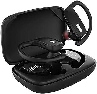 Audífonos inalámbricos Bluetooth, BD&M Auriculares deportivos con pantalla LED TWS estéreo, graves profundos con ganchos para las orejas, micrófono integrado para correr, entrenamiento, color negro