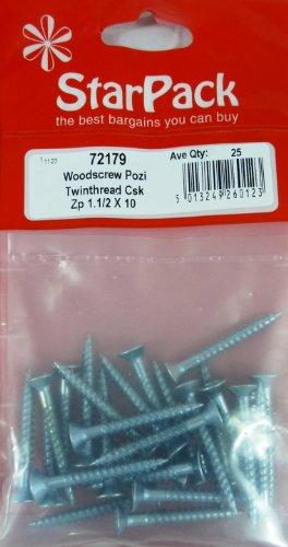 Vis À Bois Pozi Twinthread Csk Bzp 10 X 1.1 / 2 23 Pc / S