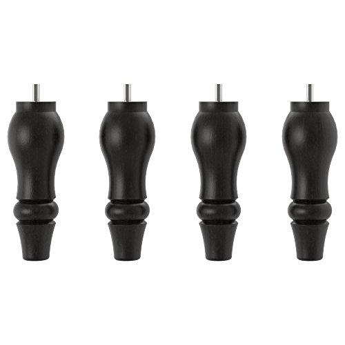 IKEA Stocksund Möbelbeine aus Holz für Ottomane oder Bank, 19,5 cm hoch, Schwarz, 4 Stück, Größe M8