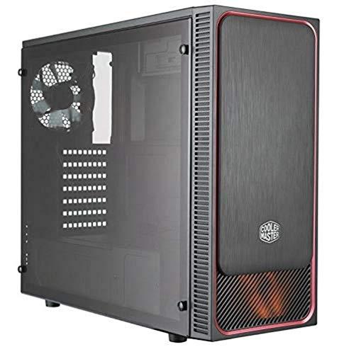 Cooler Master MasterBox E500L - Torre Micro ATX (ATX), Color Negro con Acabado Rojo