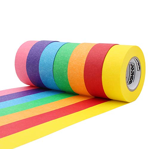 Home Decoration Office Supplies LLXIA Self Adhesive Labeling Tape 1 Inch x 22 Yards Graphic Art Paper Tape 7 Rolls for Crafts DIY Rainbow Color Colored Masking Tape