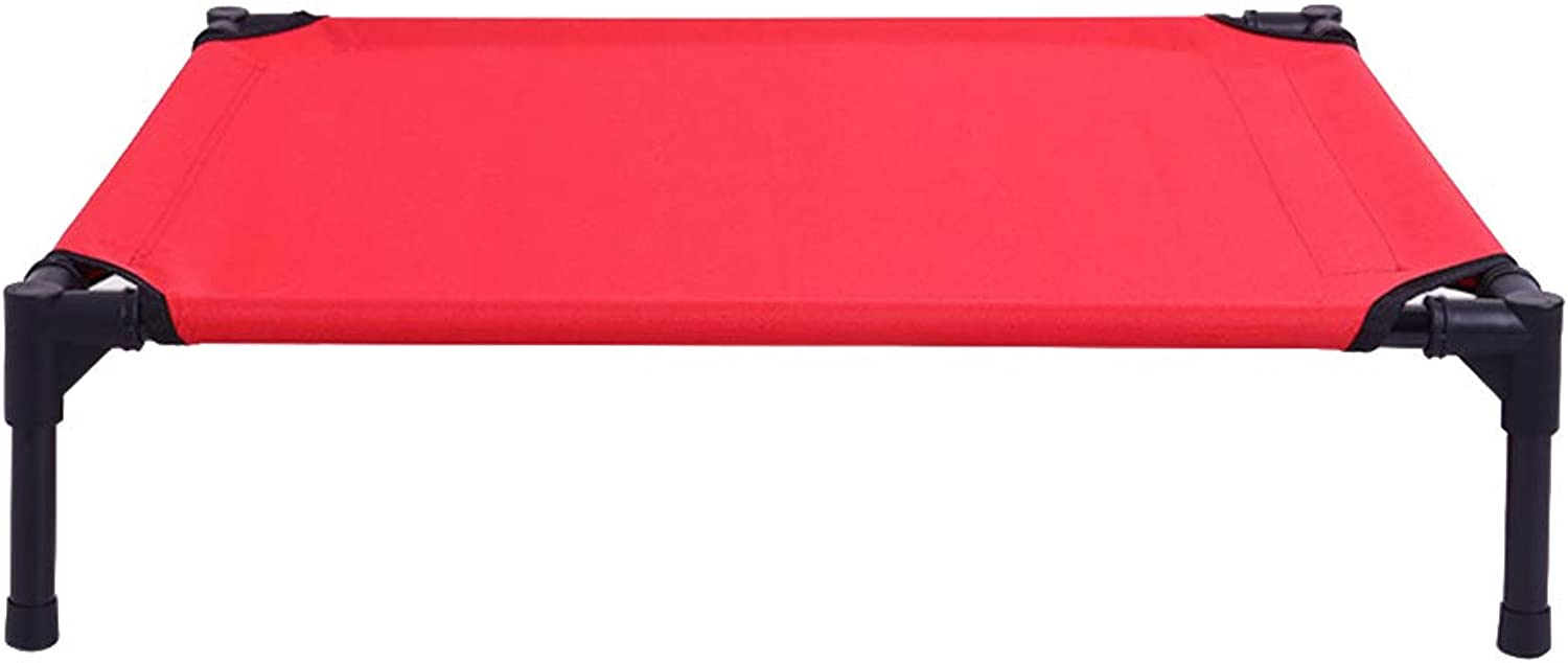 Elevated Dog Bed Comfortable for Any Dog More hygienic Than Padded beds Portable Camping Bed with Sturdy Frame Waterproof,Red,91  76  16CM