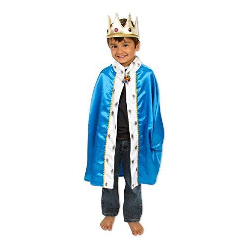 Slimy Toad - Fantastique déguisement de roi pour enfants (cape et couronne) - Costume roi luxe pour enfant - Bleu et doré (3-8ans)