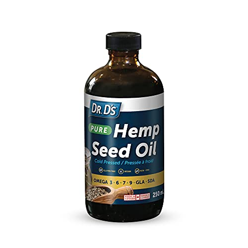 Dr. D's Hemp Seed Oil – Pure Plant-Based, Cold-Pressed Unrefined Hemp Seed Oil w/Omega 3,6,7,9 GLA & SDA for Pain…