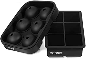 Adoric Ice Cube Trays Silicone Set of 2, Sphere Ice Ball Maker with Lid and Large Square Ice Cube Molds for Whiskey,...
