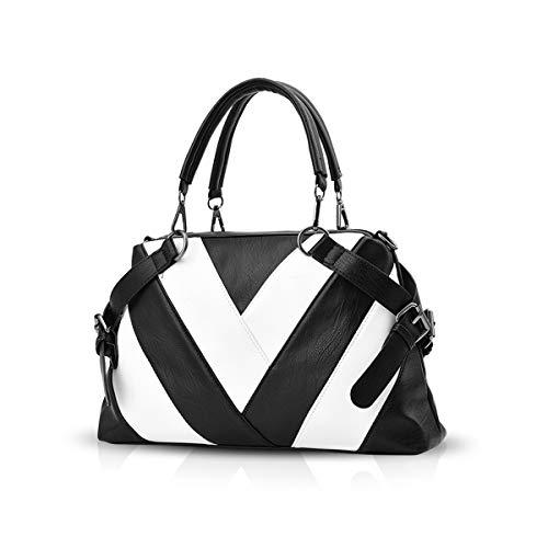 NICOLE & DORIS Bolsos de mano para damas con asa superior para mujeres bolsa de cuerpo cruzado Bolso de hombro blanco y negro