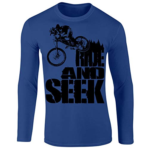 Mountain Biking MTB Jersey - Personalized Cycling Gifts for Men Ride & Seek Royal-M